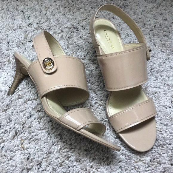 Coach Marla Patent Leather Chalk Turnlock Sandals